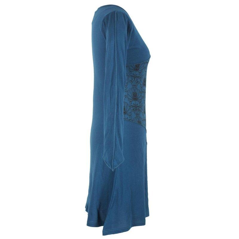 vishes langes lagenlook patchwork langarm damen kleid