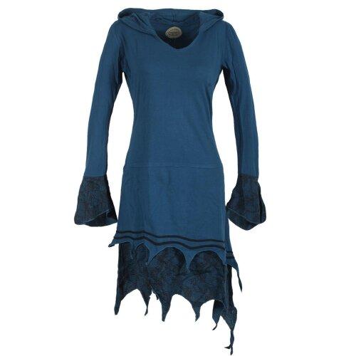 Vishes Zipfeliges Lagenlook Design Elfenkleid mit Zipfelkapuze mit Spitze bedruckt