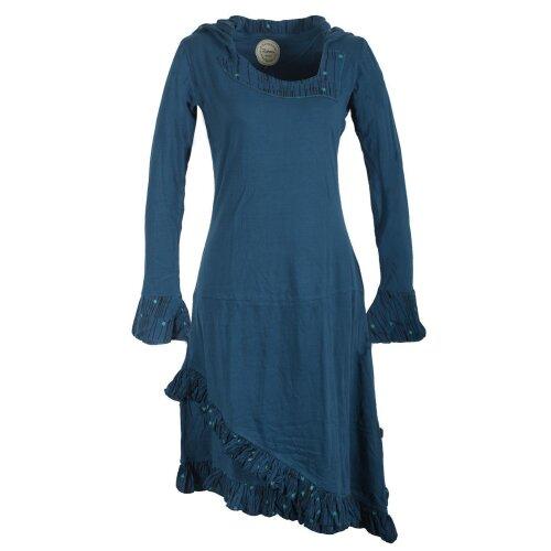 Vishes asymmetrisches langarm Hoodie Kleid mit Rüschen ...