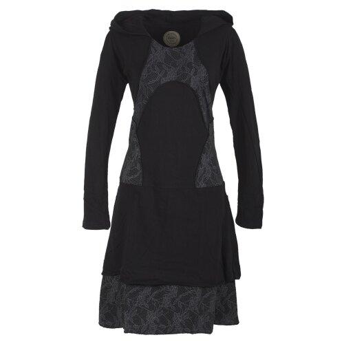 Vishes Langarm Lagenlookkleid aus Baumwolle mit Zipfelkapuze