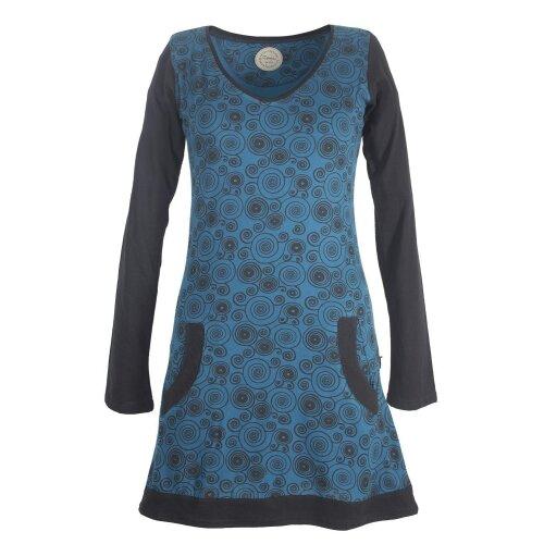 Vishes Langarm Damen Spiralen Kleid Baumwolle mit Taschen