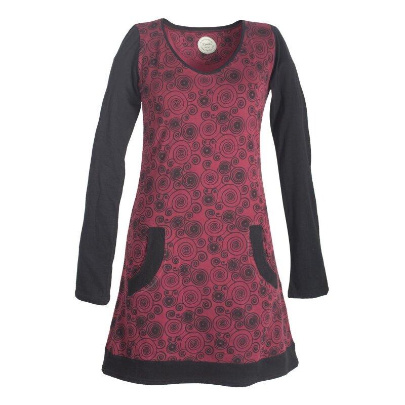 Vishes Langarm Damen Spiralen Kleid Baumwolle mit Taschen ...