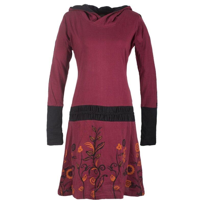 Vishes - Bedrucktes Langarm Damen Blumen Kleid mit Kapuze ...