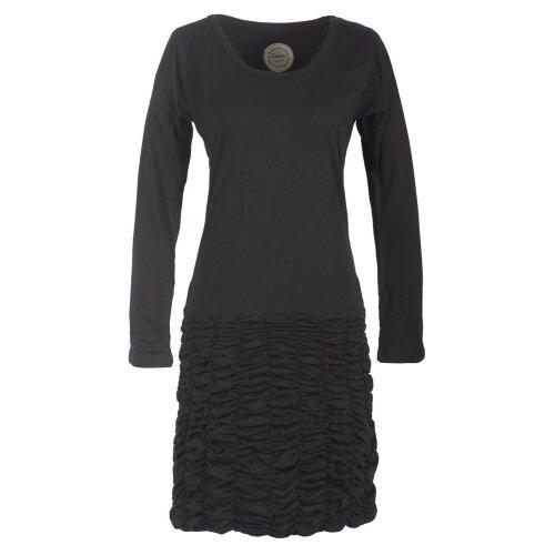 Vishes Langarm Damen Eco Kleid Gerafft Einfarbig zertifizierte Biobaumwolle