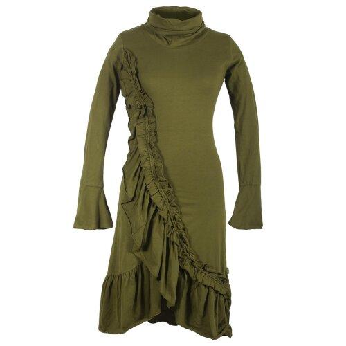 Vishes Asymmetrisches Volant Langarmkleid aus Biobaumwolle mit Rüschen
