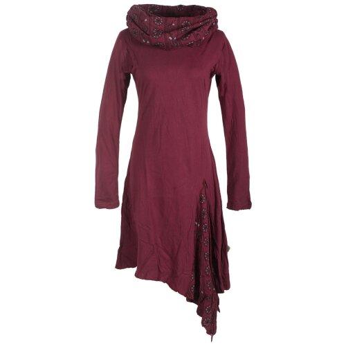 Vishes - Asymmetrisches Langarm Zipfelkleid aus Baumwolle mit Schalkragen