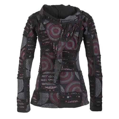 Vishes Kurze Leichte Damen Patchworkjacke aus Baumwolle mit Zipfelkapuze und Cutwork