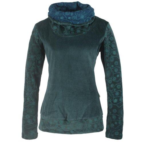 Vishes Damen Rollkragen Samtpullover Sweater aus Baumwolle bedruckt