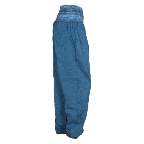 Vishes Chino Haremshose Einheitsgröße mit dehnbarem gestreiften Bund und Taschen türkis