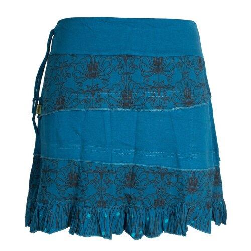 Vishes Damen Patchwork Rüschen-Rock mit Breitem Dehnbarem Bund und Taschen