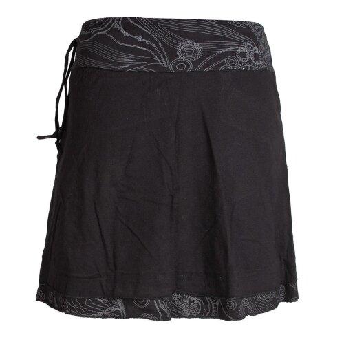 Vishes Kurzer Lagen-Look Baumwoll-Rock Bedruckter Breiter Bund mit Taschen schwarz 38