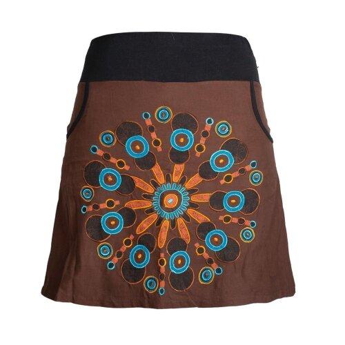 Vishes Damen Baumwoll-Rock mit großer Mandala-Blume hand-bedruckt und bestickt