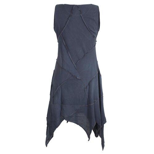 Vishes Armloses Einfarbiges Patchwork Zipfelkleid aus handgewebter Baumwolle