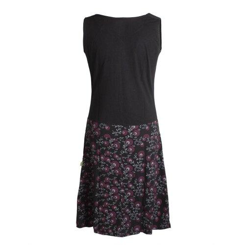 Vishes Damen Baumwoll-Kleid mit Blumen-Muster, Wasserfall-Kragen und Taschen