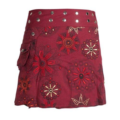 Vishes Damen Wickel-Rock Bedruckt Bestickt Blumen Mandala Druckknöpfe Gürtel-Tasche