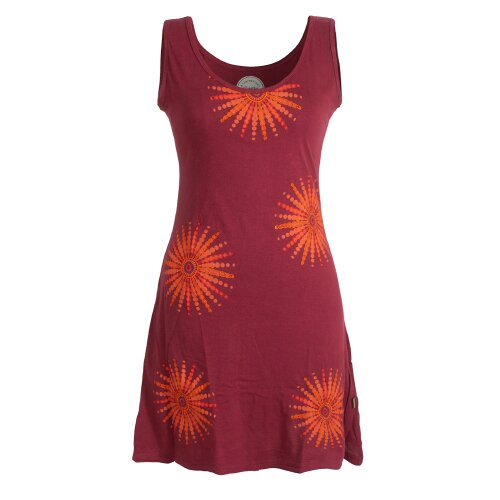 Vishes Ärmelloses Goa Jerseykleid mit Mandalas Bedruckt und Bestickt aus Baumwolle