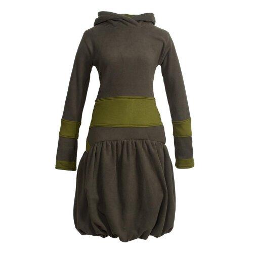 Vishes Langarm Damen Winter-Kleid Ballonkleid Kapuzen-Kleid Eco-Fleece