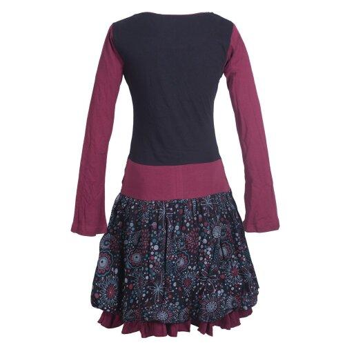 Vishes Langarm Damen Tulpen-Kleid Ballon-kleid Sweat-Kleid Baumwoll-kleid