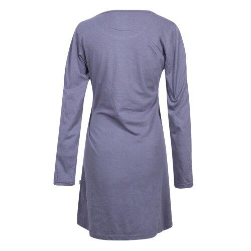 Vishes Damen Langarm Baumwollkleid Shirtkleid mit Buddha Druck