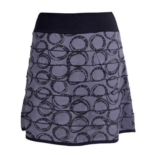 Vishes Kurzer Damen Minirock mit Taschen und Patchwork-Streifen Kreise