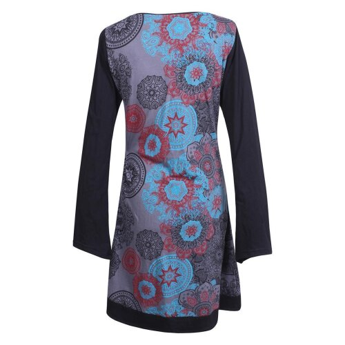 Vishes - Langarm Damen Lagen-Look Jersey-Kleid Mandalas V-Ausschnitt