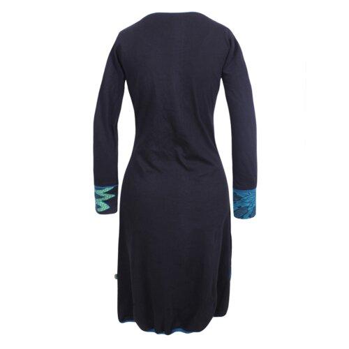 Vishes - Damen Langarm Baumwollkleid Ballon Shirtkleid mit Ethno Druck
