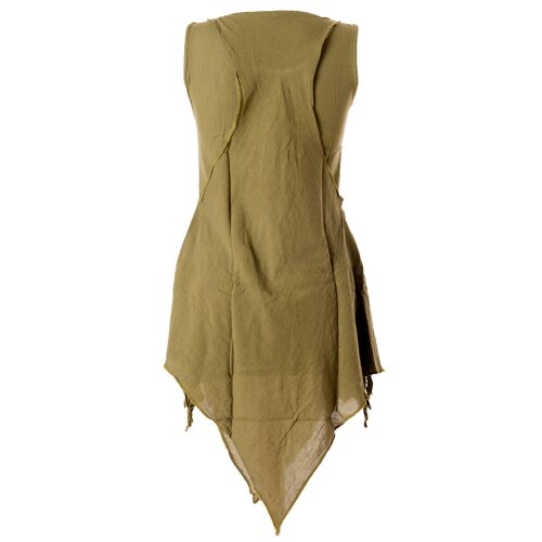 Vishes Zipfeliges Lagenlook Shirt Tunika aus handgewebter Baumwolle - im Used-Look